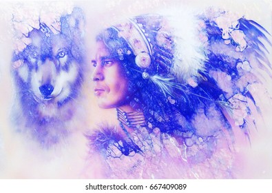 painting of a young indian warrior wearing a gorgeous feather headdress with wolf. Marble structure.