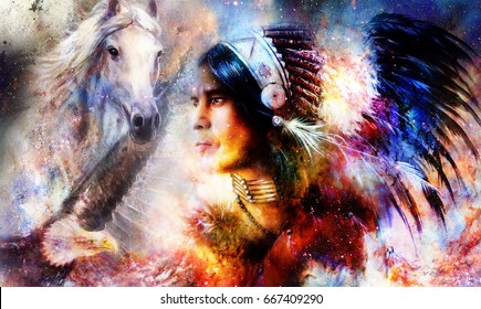 painting of a young indian warrior wearing a gorgeous feather headdress with eagle and horse. Cosmic background. profile portrait.
