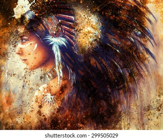 painting of a young indian woman wearing a big feather headdress, a profile portrait on structured abstract background