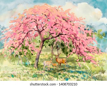 Paintings forest- Watercolor landscape of animal, deer family Eco-friendly concept with cherry blossom meadow. Hand painted illustration on paper sky background. Beautiful nature spring summery season