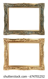 Paintings Frames, Golden and Bronze isolated on White Background.