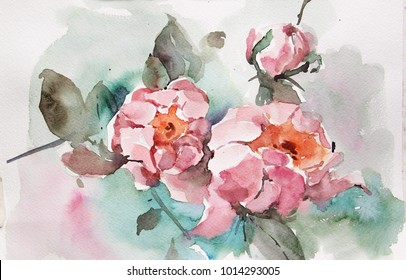 Paintings in watercolor depicting flowers vases fruit kettle.Can be used for & Vase Painting Images Stock Photos \u0026 Vectors | Shutterstock
