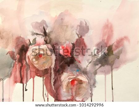 Paintings Watercolor Depicting Flowers Vases Fruit Stock