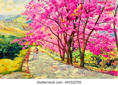 Paintings watercolor landscape original pink red color of Wild himalayan cherry,and lovers woman, boys, in morning on road with mountain sky cloud background, Hand painted,beauty nature winter season.
