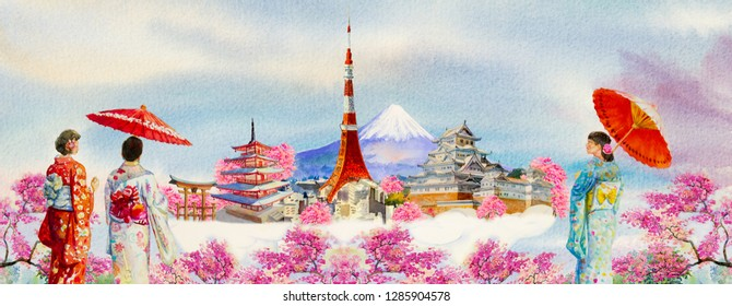 Paintings watercolor travel Japan famous landmarks of the world and Asian woman wearing Japanese traditional kimono with umbrella. Painting illustration in sky background, popular tourist attraction.