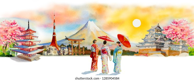 Paintings watercolor travel Japan famous landmarks of the Asian. Woman wearing Japanese traditional kimono with umbrella. Painting illustration in sun skyline background, popular tourist attraction.