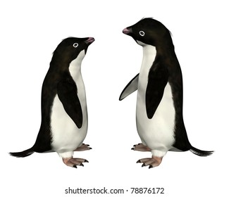 Pair of Adelie penguins, 3d digitally rendered illustration