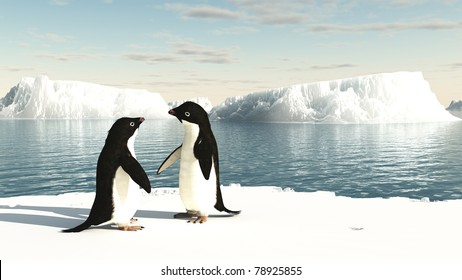 Pair of Adelie penguins standing on an iceberg, 3d digitally rendered illustration