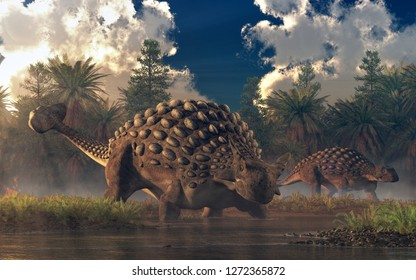 A pair of ankylosauruses graze in a watery lowland.  One of the two faces the viewer.  These cretaceous era armored dinosaurs are one of the best known of the prehistoric reptiles. 3D Rendering
