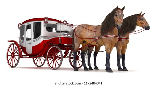 Pair of bay horses pulled into a carriage. 3d illustration isolated on white