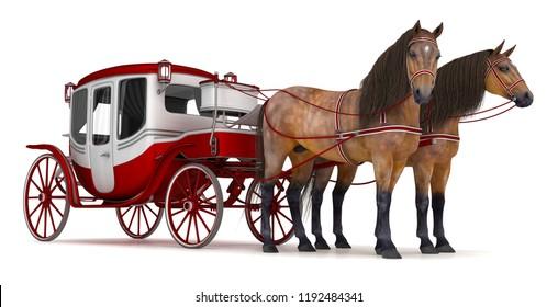 Pferde aus der Bucht wurden in eine Kutsche gezogen. 3D-Illustration einzeln auf Weiß