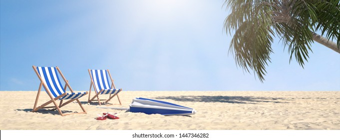 Pair of beach chairs on sand beach with palm trees under blue sky (3d rendering)