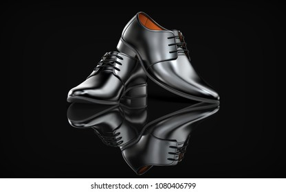 The pair of black leather shoes on a black background. Men's footwear 3d rendering on black.