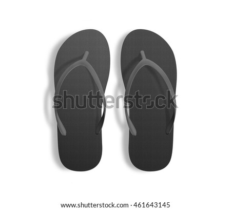 56cce3639d50e2 Pair Blank Black Beach Slippers Design Stock Illustration - Royalty ...
