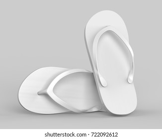 Pair of blank white beach slippers, design mock up, clipping path, 3d illustration. Home plain flip flops mock up template top view. Clear bath sandal display. Bed shoes.