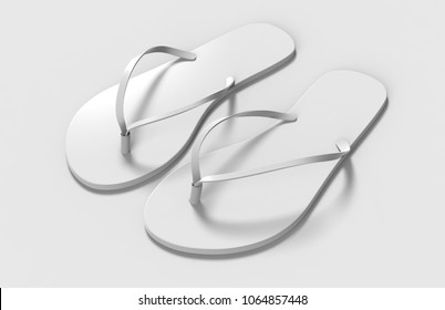 Pair of blank white beach women slippers, design mock up, clipping path, 3d illustration. Home plain flip flops mock up template top view. Clear bath sandal.