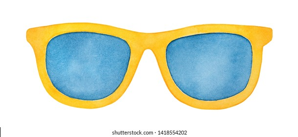 Pair of bright yellow sunglasses with navy blue lenses. Symbol of fashion, youth, success, style, elegance. Handdrawn watercolour graphic drawing on white backdrop, cutout clip art element for design.