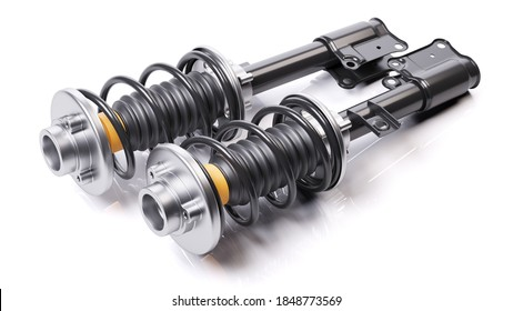 Pair of car shock absorbers with springs. Suspension components. 3D render