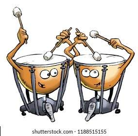 A pair of cartoon  timpani drums