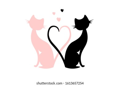 Pair of cats in love making heart with tails