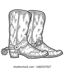 A pair of cowboy boots, sketch. Scratch board imitation. Black and white hand drawn image. Engraving raster