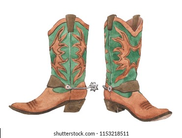 A pair of cowboy boots. Western. Watercolor illustration