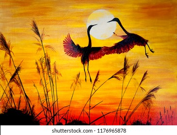 A pair of cranes over an autumn field. Sunset. Oil painting