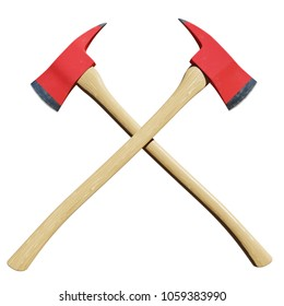 Pair of crossed firefighter axes isolated in front of a white background. - 3D Illustration