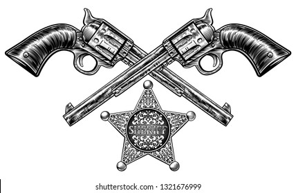 A pair of crossed gun revolver handgun six shooter pistols drawn in a vintage retro woodcut etched or engraved style with a star shaped sheriff badge