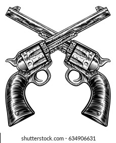 A pair of crossed gun revolver handgun six shooter pistols drawn in a vintage retro woodcut etched or engraved style