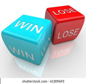 A pair of dice with the words win and lose
