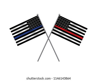 A pair of first responder police and firefighter support flags crossed illustration.