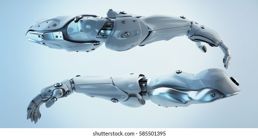 Pair of futuristic athletic robotic arms, 3d rendering