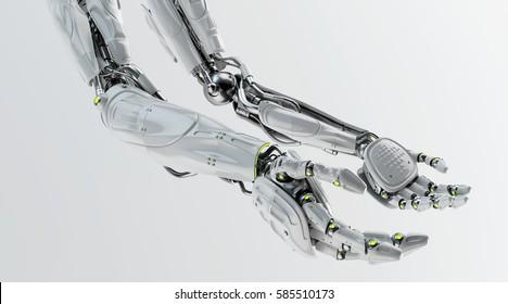 Pair of futuristic robotic arms, 3d rendering