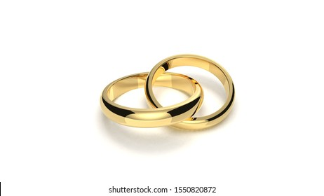 Pair of gold wedding rings on white background 3d rendering