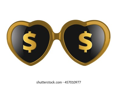 A pair of golden heart shaped sun glasses with solar signs on lenses isolated. 3d illustration