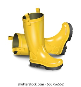 Pair of gumboots. Rain yellow boots isolated on white background. Realistic illustration