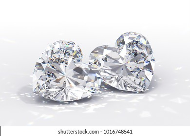 Pair of heart cut diamonds on white background. Close-up view with caustics rays. 3D rendering illustration