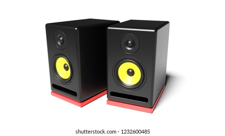 Pair of modern professional active studio monitor audio speakers in black wooden casing with yellow synthetic woofers and red vibration dampers. 3d illustration isolated on white background.