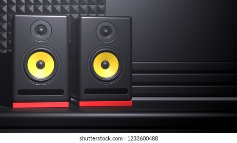 Pair of modern professional active studio monitor audio speakers in black wooden casing with yellow synthetic woofers and red vibration dampers on record studio dark background. 3d illustration.
