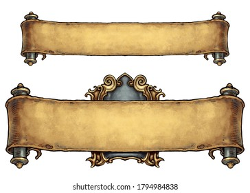 Pair of old scroll banners - digital illustration