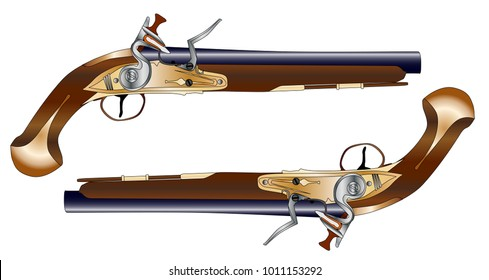 A pair of old style flintlock dueling pistols isolated on white.