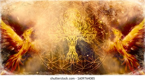 pair of phoenix with tree of life and sacred geometry flower of life symbol, space background.