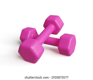 Pair of pink dumbbells isolated on white background, 3d illustration.