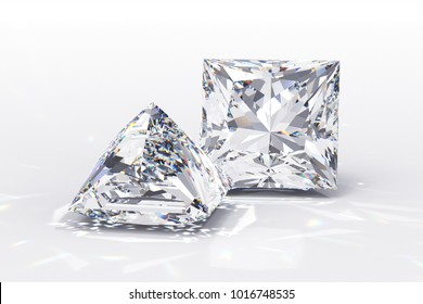 Pair of princess cut diamonds on white background. Close-up view with caustics rays. 3D rendering illustration