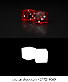 Pair of Red transparent Dices laying on reflective black surface