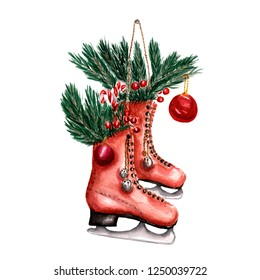 Pair of red vintage ice skates hanging on the laces decorated with with christmas decor. Christmas red berries, branch of pine, candy and Christmas balls. Hand drawn watercolor illustration.