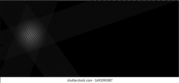 Pair of ribbon angled faded white stripes left side on solid minimal black background with illuminated spot.