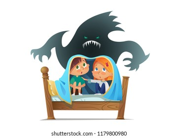 Pair of scared children sitting on bed and hiding from frightening ghost under blanket. Fearful kids and imaginary monster. Cartoon characters isolated on white background.  illustration.