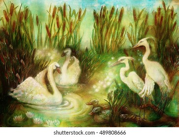 pair of swans and crane birds at pond surrounded with reeds, fairytale illustration